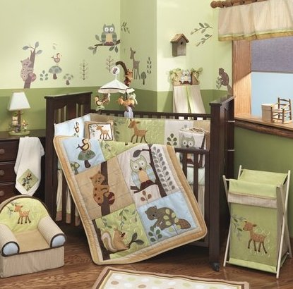 Lambs and Ivy Enchanted Forest 6 Pc Baby Crib Bedding Set, Green