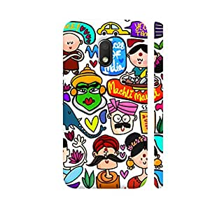 Colorpur Faces Of India Designer Mobile Phone Case Back Cover For Motorola G Play 4th Gen / Moto G4 Play | Artist: Woodle Doodle