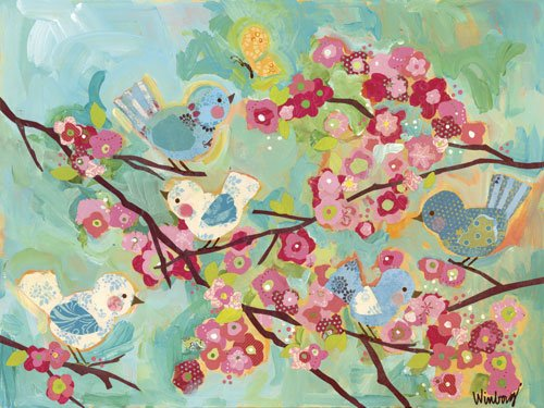 Oopsy daisy Cherry Blossom Birdies Stretched Canvas Wall Art by Megan and Mendy Winborg, 40 by 30 Inches