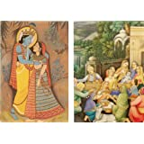 DollsofIndia Radha Krishna And Bathing Ceremony Of Krishna - (Set Of Two) - Reprint On Card Paper - Unframed