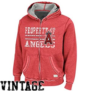 MLB Los Angeles Angels Men's Majestic Proven Winner Hooded Fleece, X-Large, Washed Red Heather