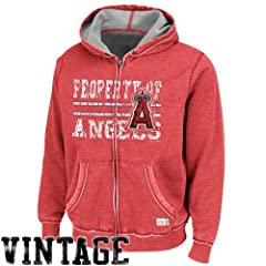 MLB Los Angeles Angels Majestic Proven Winner Hooded Fleece, Washed Red Heather by Majestic