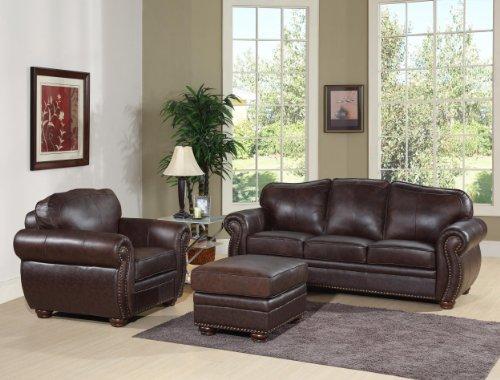 3 Piece Set, Premium Italian Leather Sofa, Armchair, and Ottoman