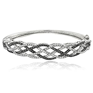 1/4 Ct Black & White Diamond Weave Bangle Bracelet