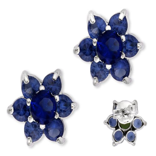 Silver Round Cubic Zirconia {C.Z.} Sapphire Peridot Center Beautiful Flower Stud Earrings