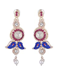 Bel-en-teno Pink & Blue Alloy Earring Set For Women