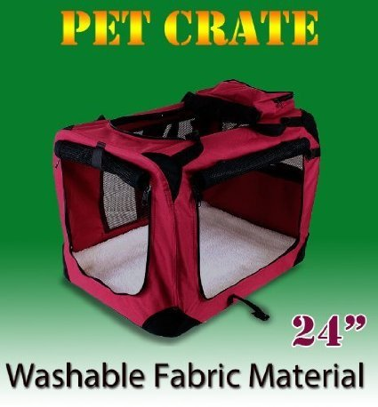 New Medium Dog Pet Puppy Portable Foldable Soft Crate Playpen Kennel House - Red front-1017255