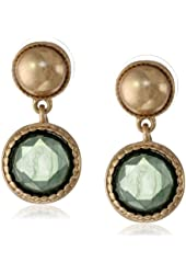 "NINE WEST VINTAGE AMERICA ""Gypset"" Gold-Tone Green Drop Earrings"