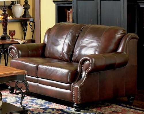 Buy Low Price Coaster Classic Tri Tone Leather Loveseat (VF_AZ04-17808)