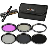 K&F Concept 40.5mm 6pcs UV CPL FLD ND2 ND4 ND8 Lens Accessory Filter Kit UV Protector Circular Polarizing Filter Neutral Density Filter For Sony 16-50 3N for Nikon V1 V2 10-30 + Microfiber Lens Cleaning Cloth + 6 Slot Filter Pouch