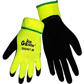 Global Glove 300INT Ice Gripster Acrylic Terrycloth Glove, Work, Large, Neon yellow... by Global Glove