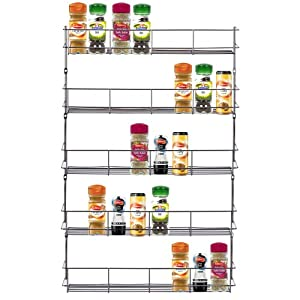 VonShef - 5 Tier Spice Rack Chrome Plated (Easy Fix) For Herbs and Spices Suitable for Wall Mount or Inside Cupboard