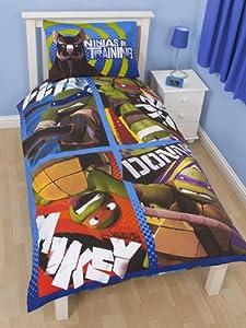 parure housse de couette reversible 1 taie d oreiller tortues ninja mutant linge de maison lit. Black Bedroom Furniture Sets. Home Design Ideas