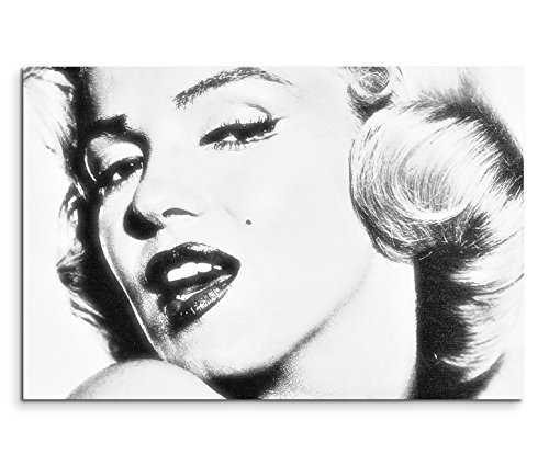 120x80cm leinwandbild auf keilrahmen marilyn monroe portrait gesicht schwarz wei wandbild auf. Black Bedroom Furniture Sets. Home Design Ideas