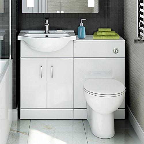 Quartz - 1048 mm White Gloss Vanity Unit Round Toilet Bathroom Sink Storage Furniture