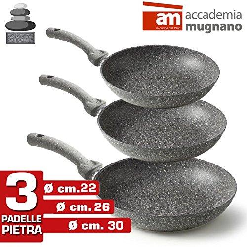 Accademia Mugnano - Set 3 Padelle in Pietra Antiaderenti Mineral Heart Stone cm 22-26-30 ( 3 pezzi ) Made in Italy