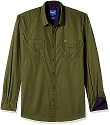Wrangler Men's Casual Shirt (8907222644536_W149119455LK_X-Large_Olive)
