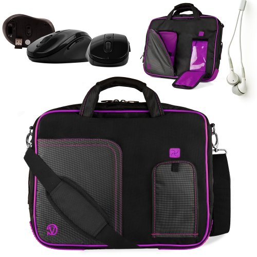 Innovative 13 inch Grap Vine Purple Pindar Travel Friendly Laptop Bag for the Fujitsu Lifebook S761 Ultrabook with Extra Features: Reinforced construction, Velcro charging port to charge without removing device, 8.3 inches in length and 6.5 in width front Pocket for tablets or eReaders, Unique pull down Smartphone & MP3 front pocket with earphones slot, and Tuck Away Handles + Universal Earbuds + Wireless Mouse!!!