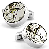 Tateossian Silver Rhodium Mechanical Skeleton Steampunk Cufflinks