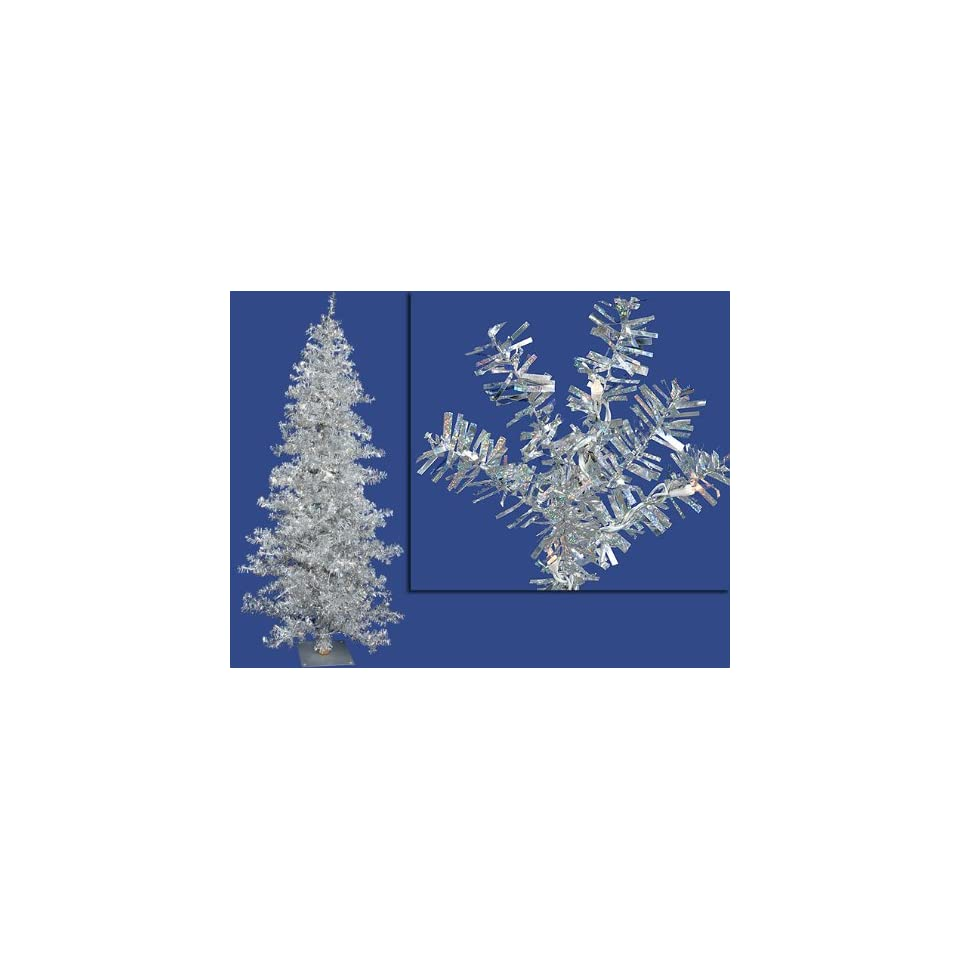 New   6 Pre Lit Silver Wide Cut Tinsel Artificial Christmas Tree   Clear Lights by Gordon