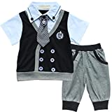 Baby Boy Kids Toddler Gentleman Two piece T-shirt Top Short Pants Outfit Clothes