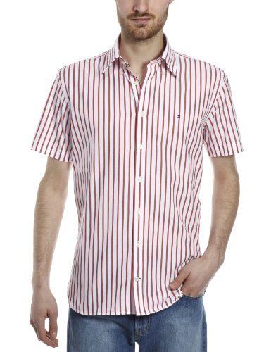 Tommy Hilfiger Mens Shirt Short Sleeve New Brighton- 883317598.615 Red - X-Large