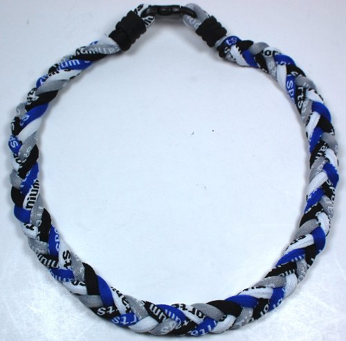 New! Royal Blue Black White Gray - 4 Rope Tornado Sports Necklace - W/ Case!