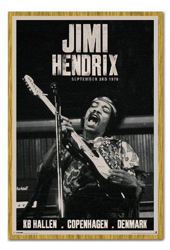 Jimi Hendrix Copenhagen Concert poster sughero Pin Lavagnetta Rovere Con Cornice-96.5x 66cms (circa 96,5x 66cm)