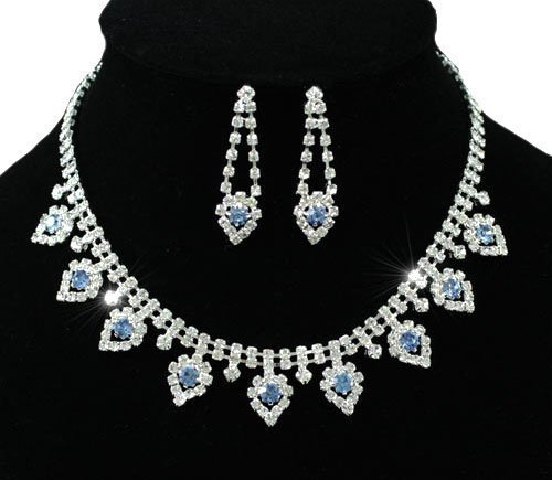 Delightful Bridal Prom Classy Blue Pear Drop Crystal Necklace Earrings Set with PreciousBags Dust Bag