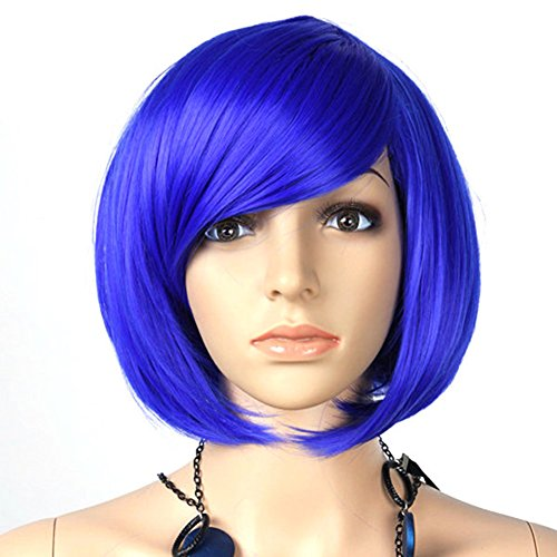 Womens Inclined Bangs Short Straight Full Wig Hair BOB Cosplay Party Blue