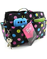 Periea Handbag Organiser 13 Compartments Black With Multi Coloured Polka Dots- Prya
