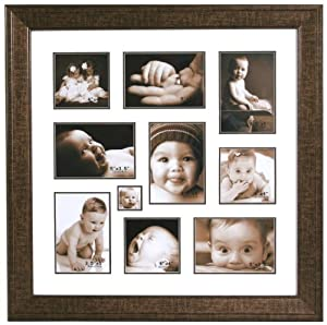 STC Large Wall Photograph Aperture Frame, Brown Frame with Cream Mount, 10 Photographs, 43 x 43cm