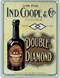 IND COOPE DOUBLE DIAMOND Metal Advertising Sign (LARGE 400mm X 300mm)