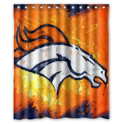 Fashion Press Flawless Gorgeous Creative Denver Broncos Shower Retro Curtain 100 WaterProof Polyester Fabric 60