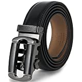 Marino Men's Genuine Leather Ratchet Dress Belt with Automatic Buckle, Enclosed in an Elegant Gift Box - black 133 - Custom: Up to 44