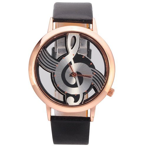 Novelty Musical Note Dial Quartz Movement Watch with PU Leather image