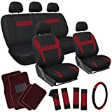 OxGord 21pc Black & Red Flat Cloth Seat Cover and Carpet Floor Mat Set for the Suzuki Forsa Hatchback, Airbag Compatible, Split Bench, Steering Wheel Cover Included