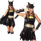 Sexy Super Hero Bat Girl Fancy Dress Outfit Dress Cape & Mask Sizes S-3XL