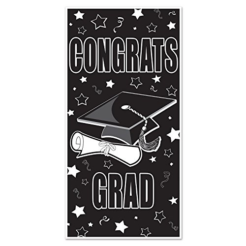 Beistle Congrats Grad Door Cover, 30 by 5-Feet, Black/White