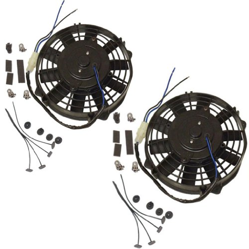 dual High Performnce 7'' Straight Blade Electric Radator Cooling Fans 12v 500cfm