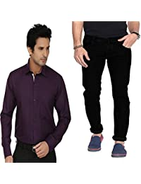 Combo Of Regular Fit Black Jeans With Dark Purple Shirt