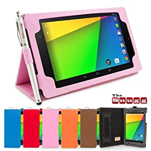 Snugg New Nexus 7 2 FHD 2013 Case in Candy Pink - Flip Stand Cover with Elastic Hand Strap, Stylus Loop and Premium Nubuck Fibre Interior - Automatically Wakes and Puts the Google Nexus 7 2 to Sleep
