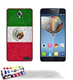 GENUINE Extra-Slim rigid Red Case Mexico Flag By MUZZANO for ALCATEL ONE TOUCH IDOL X   3 UltraClear Screen protector