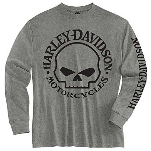 Harley-Davidson Big Boys' Tee, Long Sleeve Willie G Skull Shirt Gray 1590509 (M) (Harley Davidson Kids Clothing compare prices)