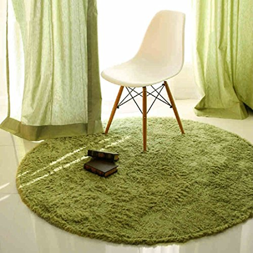ONEONEY Round Shaggy Area Rugs and Carpet Super Soft Bedroom Carpet Rug for Kids Play (Green,31.5