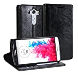 LG G3 Case, GMYLE Wallet Case Simple for LG G3 - Black Crazy Horse Pattern PU Leather Protective Flip Folio Slim Fit Wallet Stand Case Cover (with Card Slots and Money Pocket)(Not Fit For LG G3 S, Beat and Vigor)