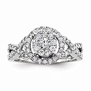 14K White Gold Multi-Center Diamond Engagement Ring