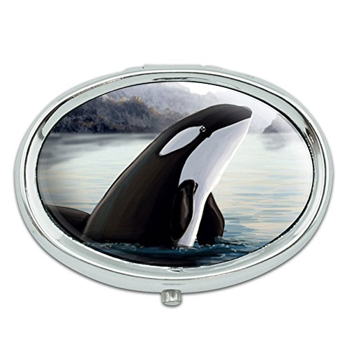 Orca Killer Whale Metal Oval Pill Case Box
