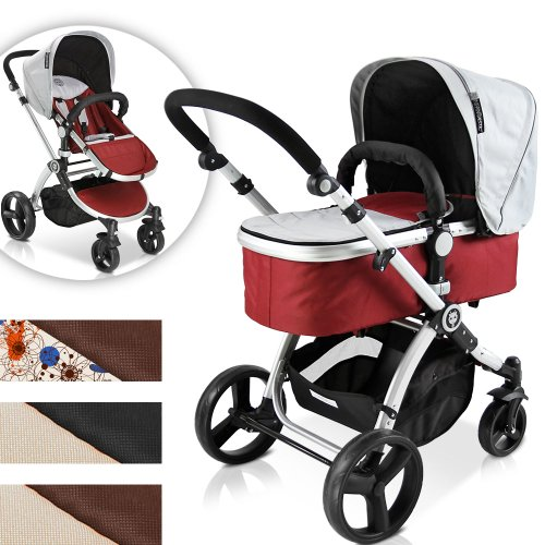 Infantastic® KBKW01blush Pushchair Pram / Stroller 2in1 (red-grey)