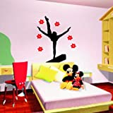 Large--Easy instant decoration wall sticker wall mural decor-Gymnastic Girl